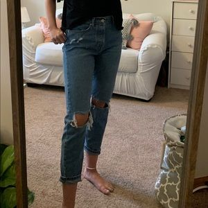 Distressed mom jeans (slightly cropped)